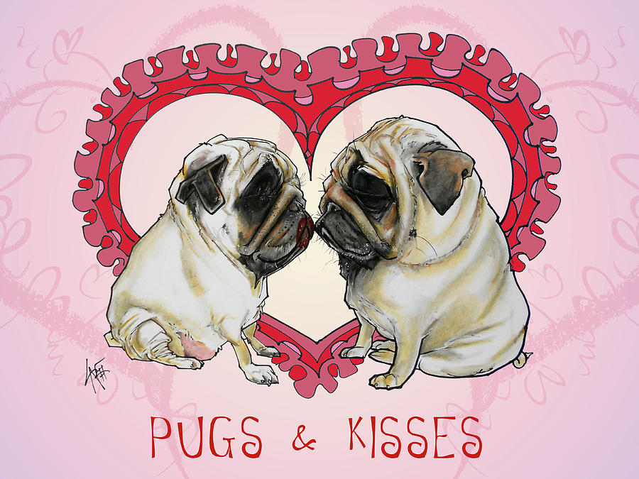 Pugs And Kisses Drawing