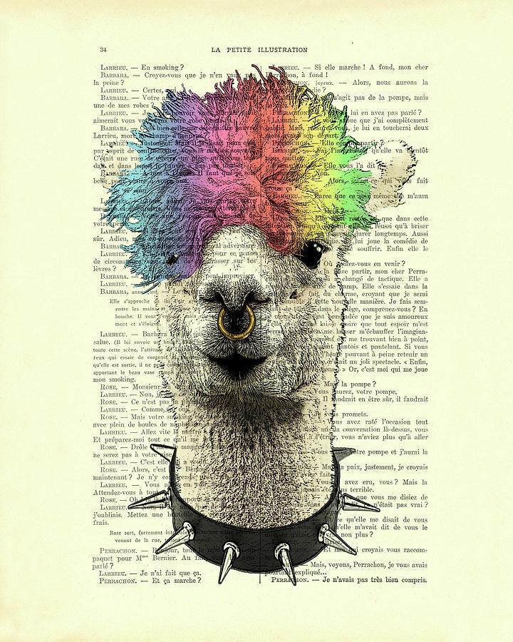 Llama Digital Art - Punk rock style alpaca book page art by Madame Memento