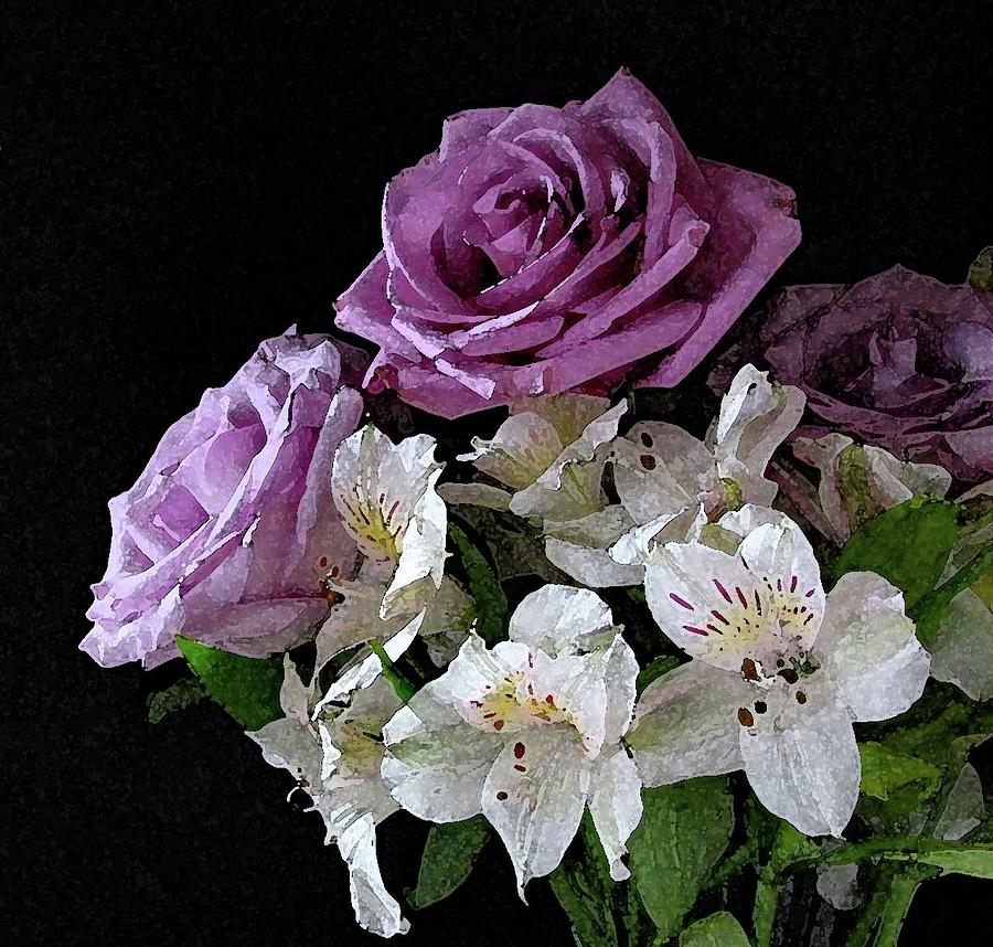 Flower Photograph - Purple and White Bouquet on Black Background by Corinne Carroll