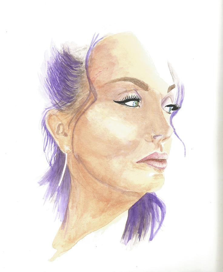 Purple Hair Beauty Painting