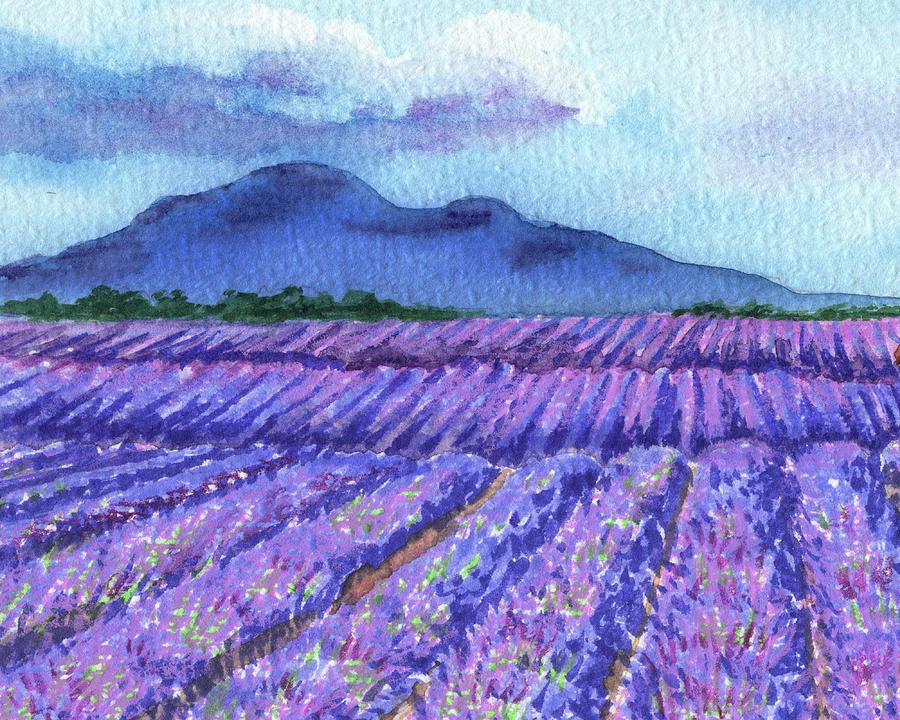 Purple Lavender Field Blue Mountains Watercolor Landscape Painting