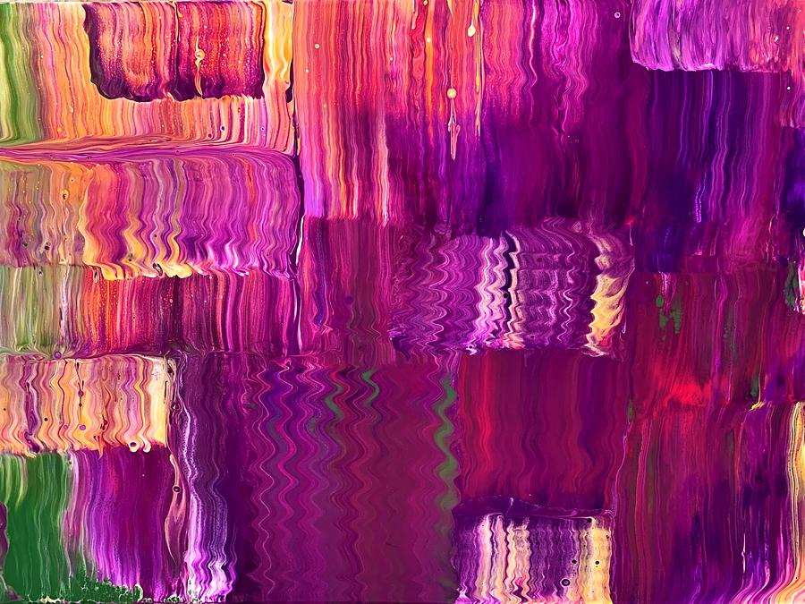 Purple Patchwork Abstract Painting
