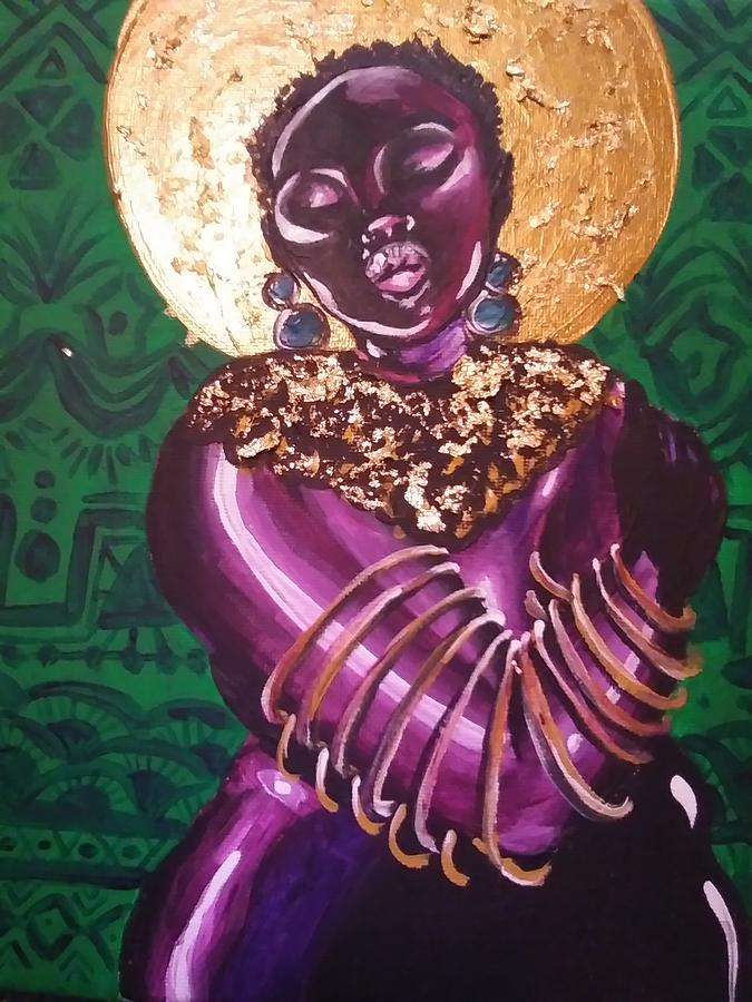Black Woman Painting - Purple Sun by Crystal Guidry