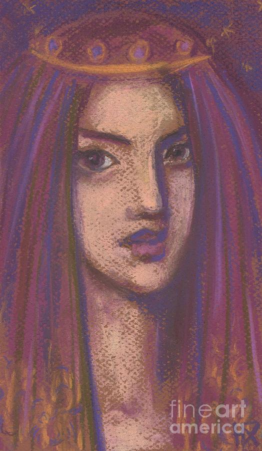 Purple Veil, Eastern Girl, Imaginative Portrait, Pastel Painting Painting