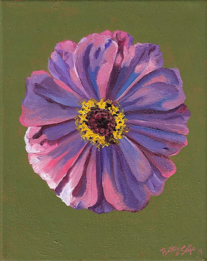 Purple Zinnia on green by Brittany Bert Selfe