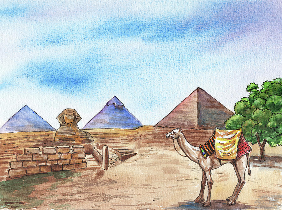 Pyramids Of Giza Egypt Watercolor Sphinx And Camel Painting