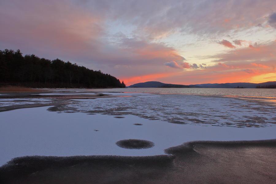 Quabbin Reservoir Sunset Ice Photograph
