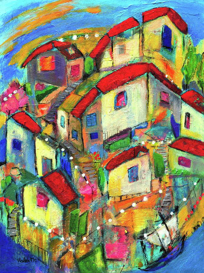 City By The Bay Mixed Media - Quaint Village by Haleh Mahbod