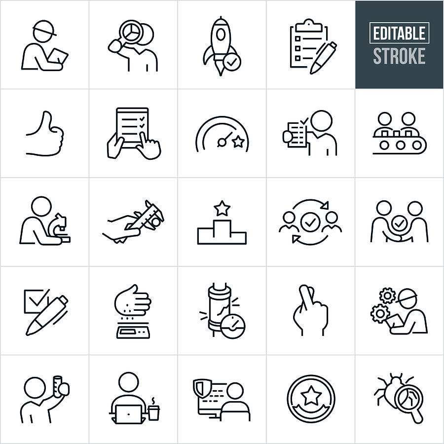 Quality Control Thin Line Icons - Editable Stroke Drawing by Appleuzr