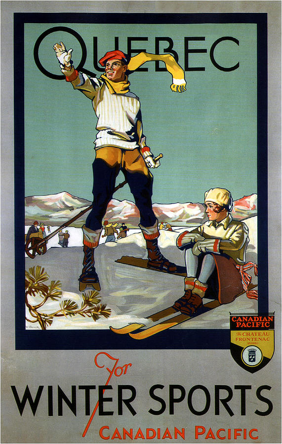 Quebec For Winter Sports - Canadian Pacific - Retro Travel Poster - Vintage Poster Mixed Media