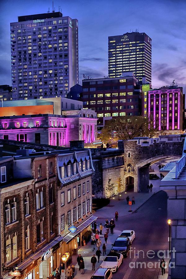 Quebec Night Lights On Rue Saint - Jean Photograph