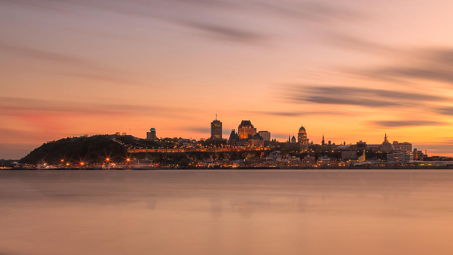 Quebec_city_long_exposure_summer_sunset_16X9_DRI Photograph by Jean Surprenant