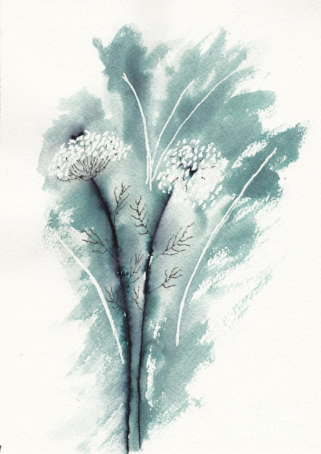 Queen Annes Lace In Ink Drawing