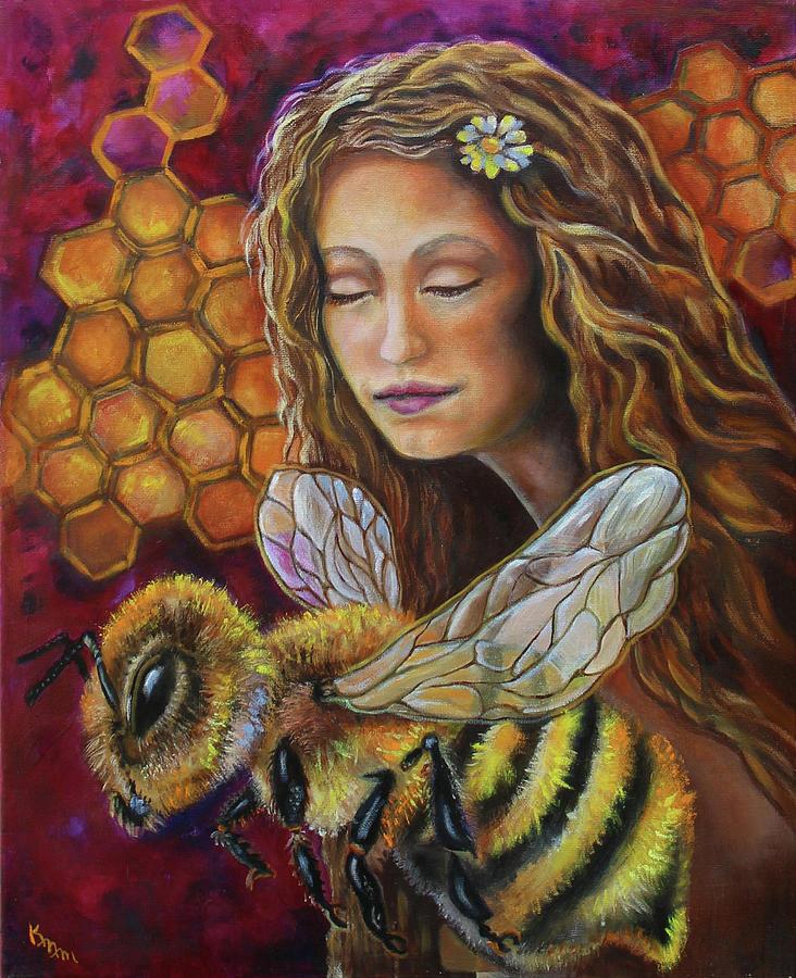 Honey Bee Painting - Queen Bee by Karen Nell McKean