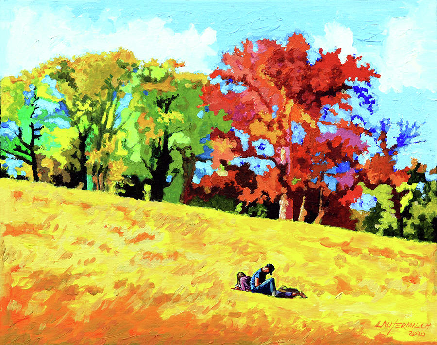 St. Louis Painting - Quiet Time on Art Hill by John Lautermilch