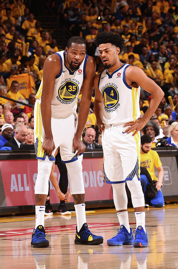 Quinn Cook and Kevin Durant Photograph by Noah Graham
