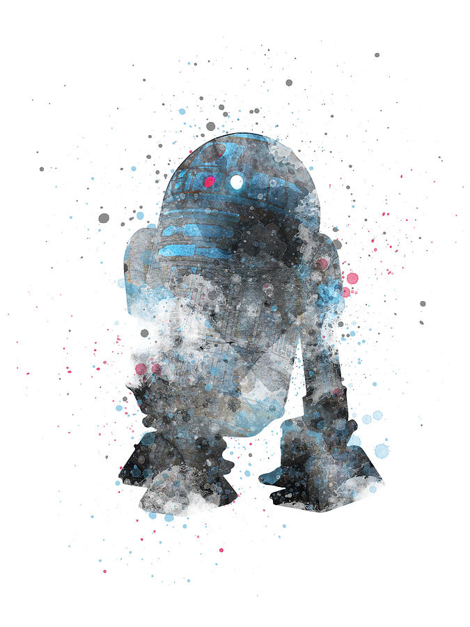 R2d2 Digital Art - R2D2 Star Wars watercolor splashes by Mihaela Pater