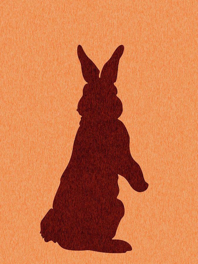 Rabbit Silhouette - Scandinavian Nursery Decor - Animal Friends - For Kids Room - Minimal Mixed Media