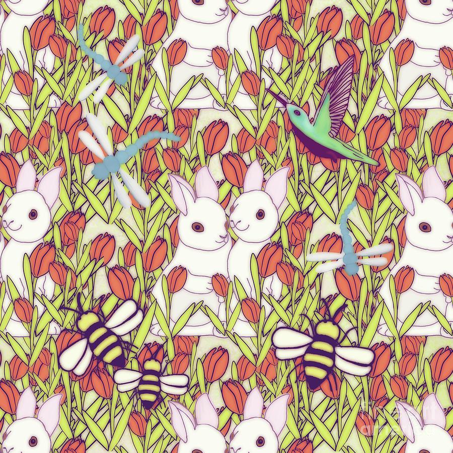 Rabbits Garden Digital Art