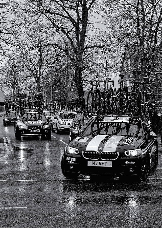 Race Team Cars Monochrome Photograph