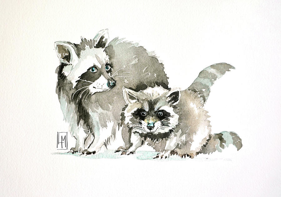 Racoons Painting