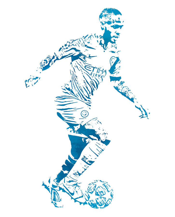 Raheem Sterling Manchester City Watercolor Strokes Pixel Art 2 Mixed Media By Joe Hamilton
