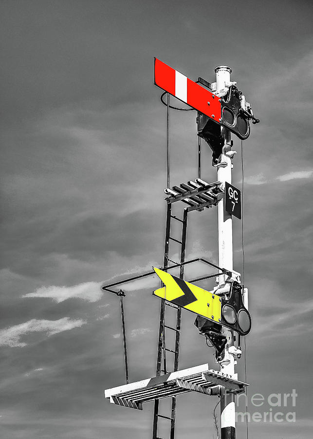 Signal Photograph - Rail Signal Monochrome with Red and Yellow Spot Colour by Richard Jemmett