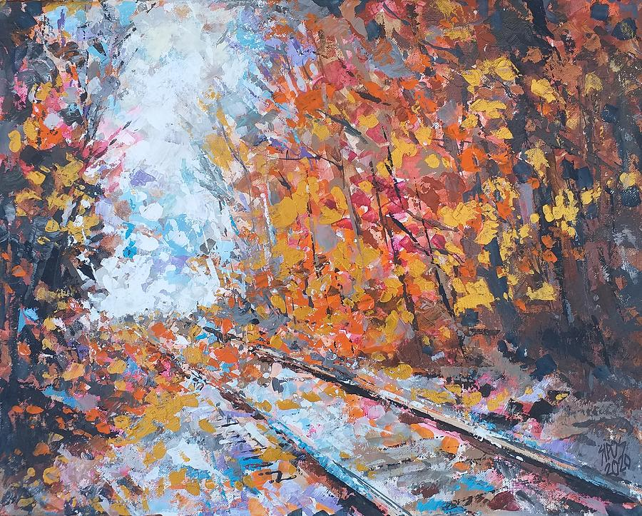 Railway Crossing The Forest Painting