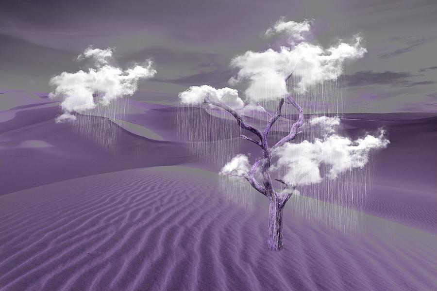 Rain Clouds Purple Mixed Media
