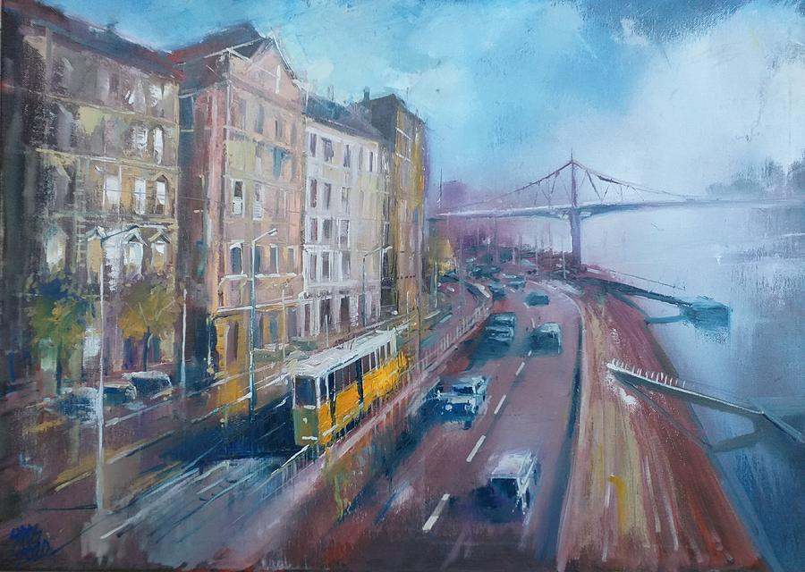 Rain In Budapest With Yellow Tram. Painting
