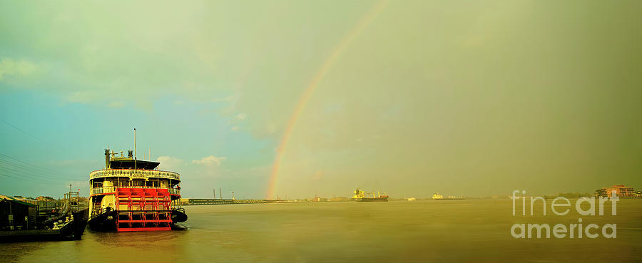Rainbow Photograph - Rainbow And Clearing After Rain, Mississippi River At New Orleans by Felix Lai