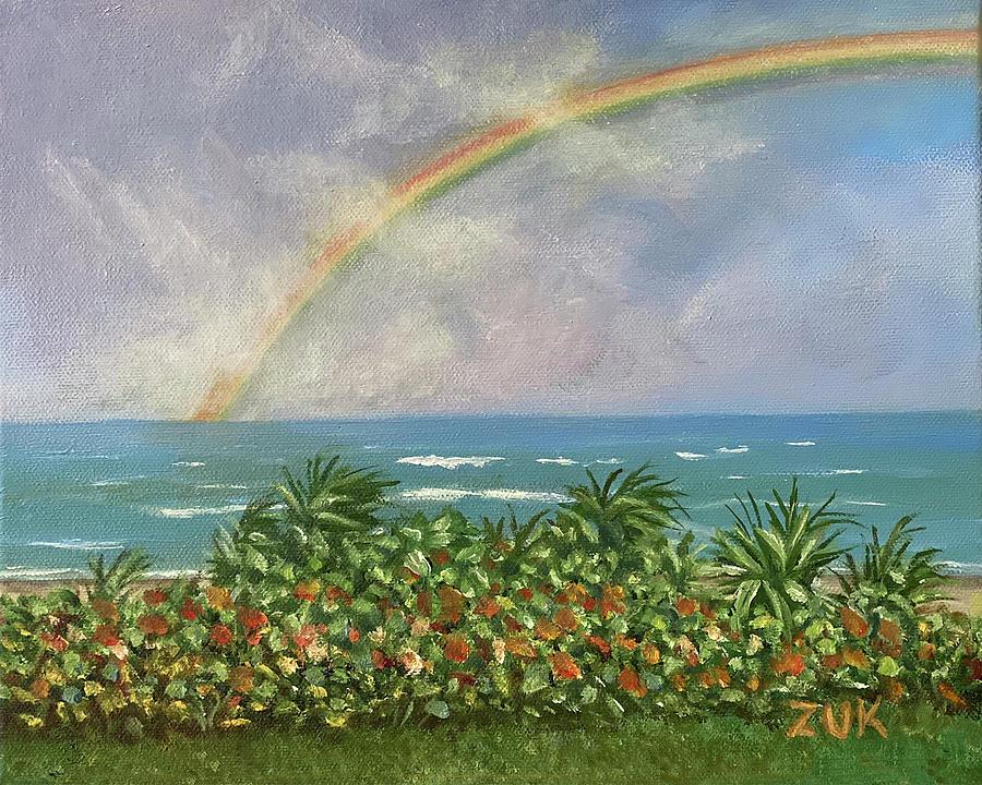 Rainbow at the Beach Painting by Karen Zuk Rosenblatt