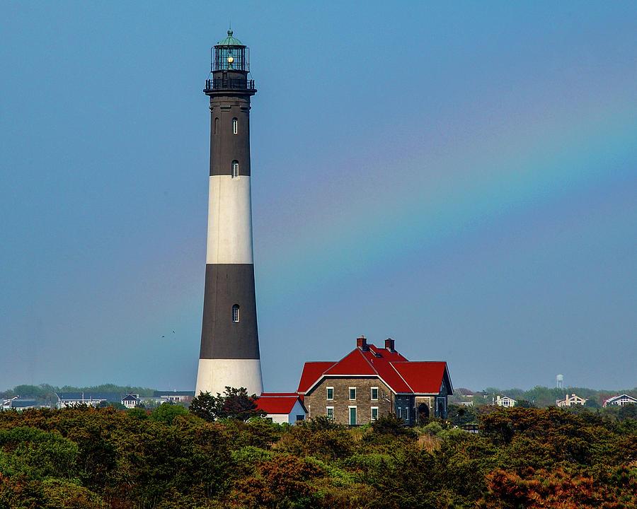 Rainbow At The Lighthouse Photograph