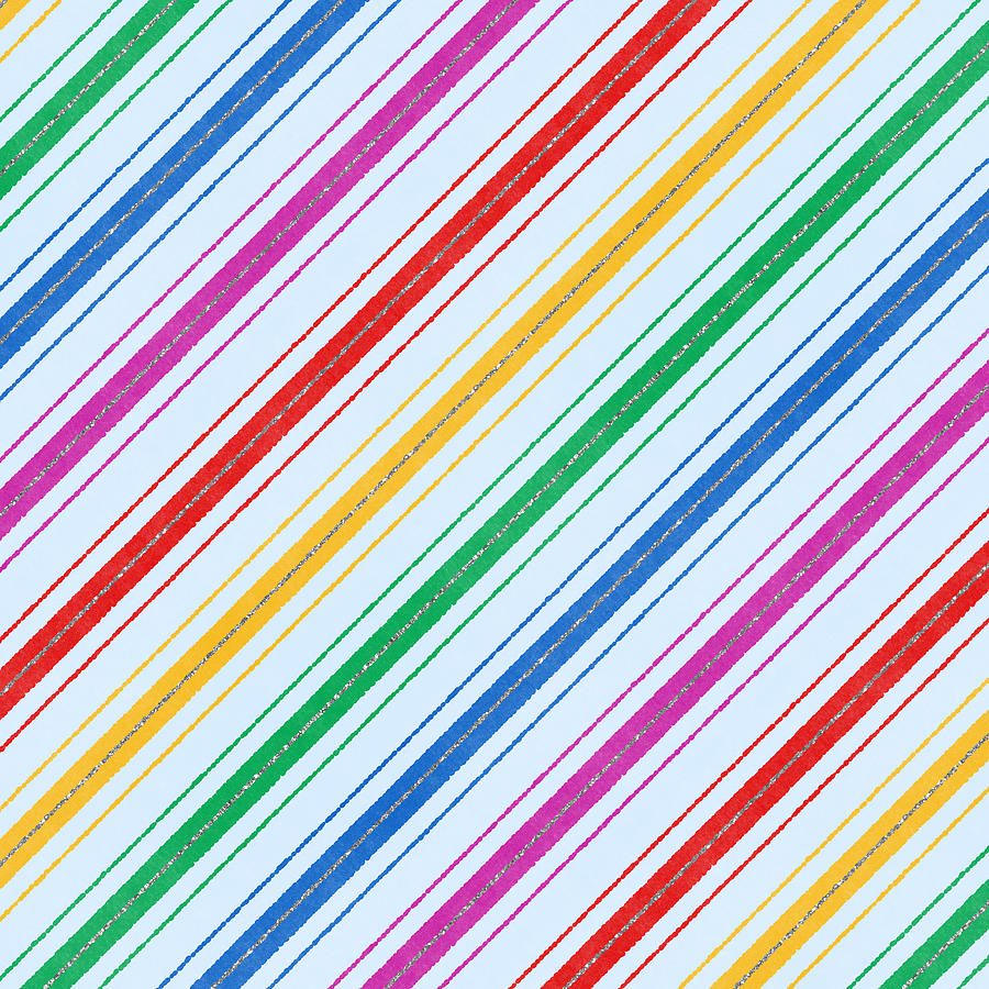 Stripes Digital Art - Rainbow Candy Cane Stripe Pattern - Art by Jen Montgomery by Jen Montgomery