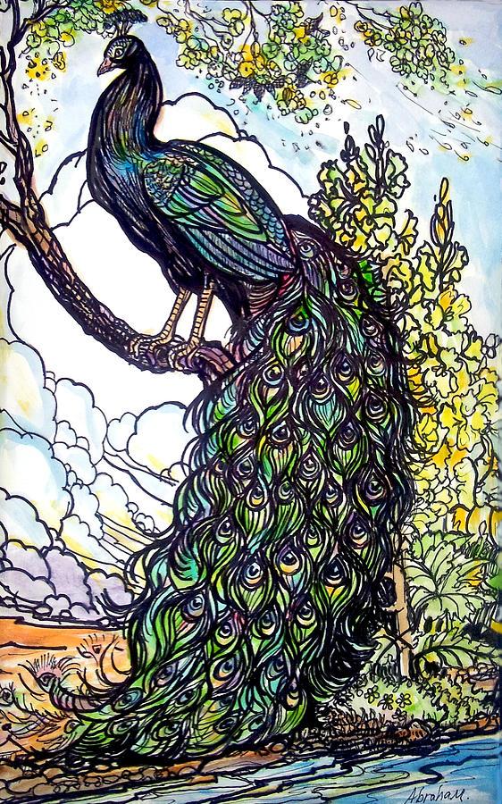 Peacock Painting - Rainbow  by Jose Manuel Abraham