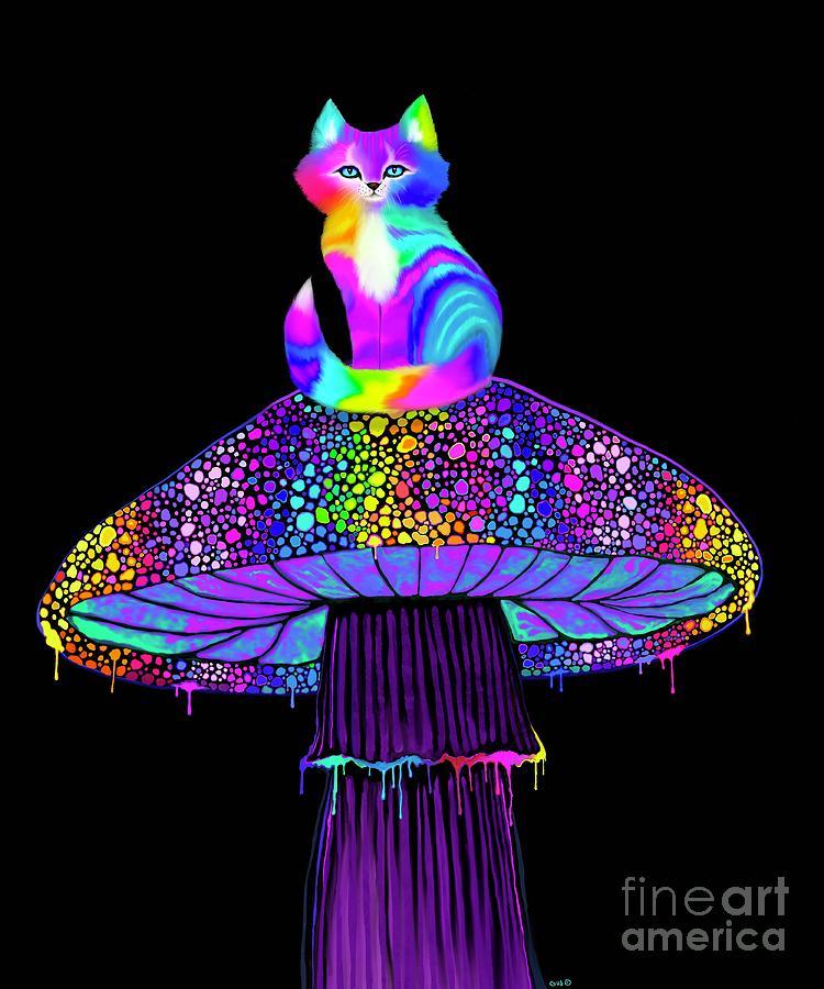 Rainbow Mushroom Kitty Digital Art
