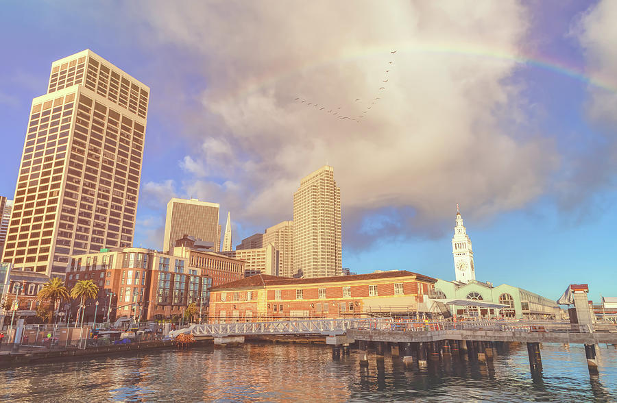 rainbow over ferry building by Jonathan Nguyen