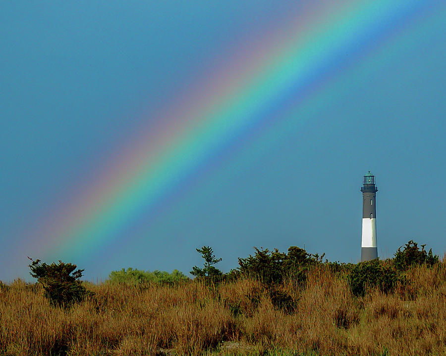 Rainbow Over Fire Island Lighthouse Photograph