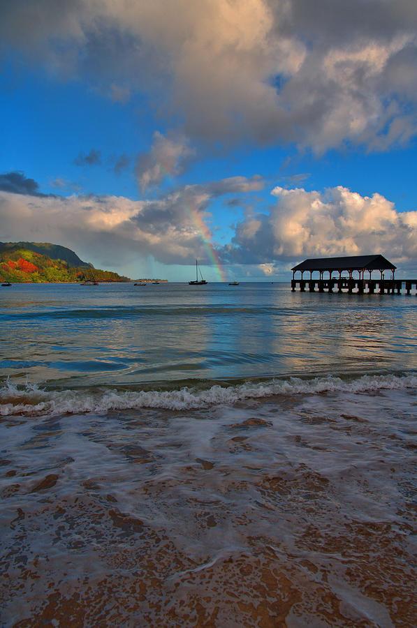 Rainbow Photograph - Rainbow Over Hanalei Pier by Stephen Vecchiotti