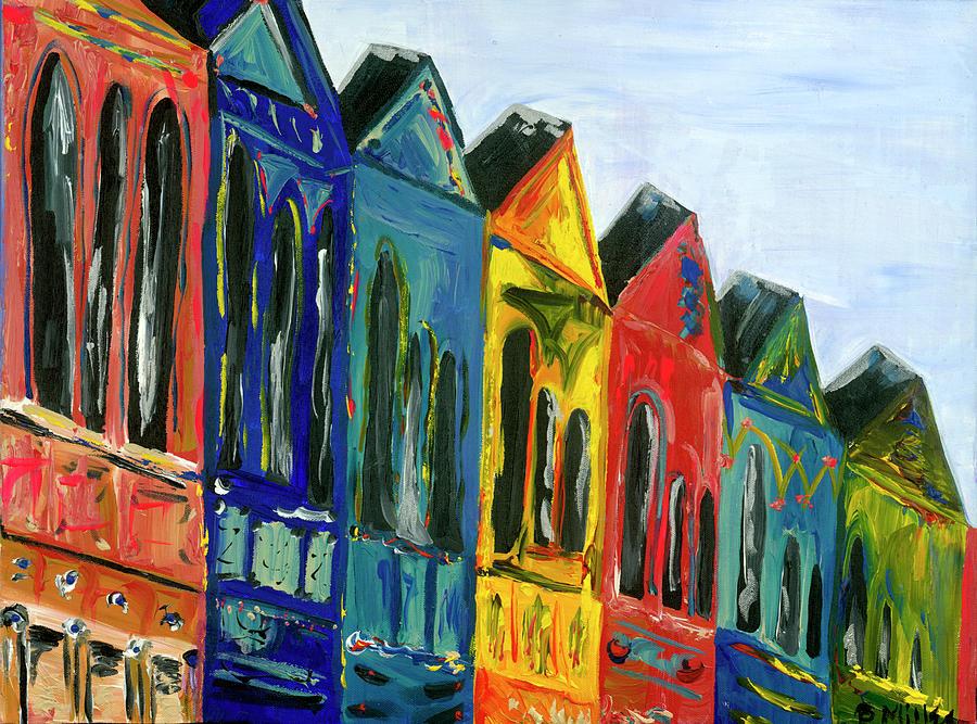 Row Homes Painting - Rainbow Row by Britt Miller