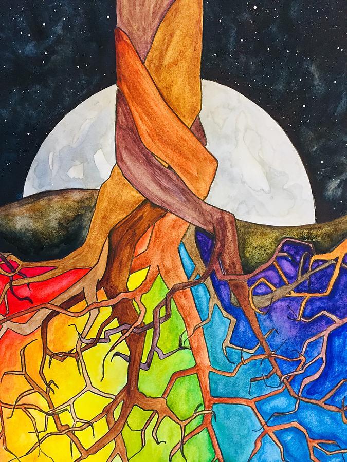 Rainbow Painting - Rainbow Soil with Moon by Vonda Drees