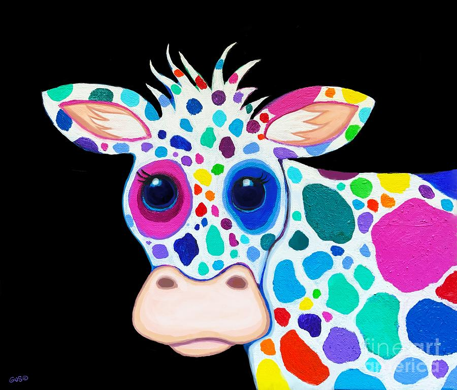 Rainbow Spotted Cow Digital Art