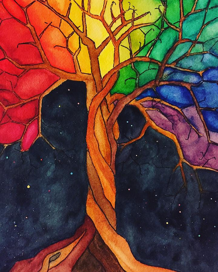 Rainbow Painting - Rainbow Tree with Night Sky by Vonda Drees