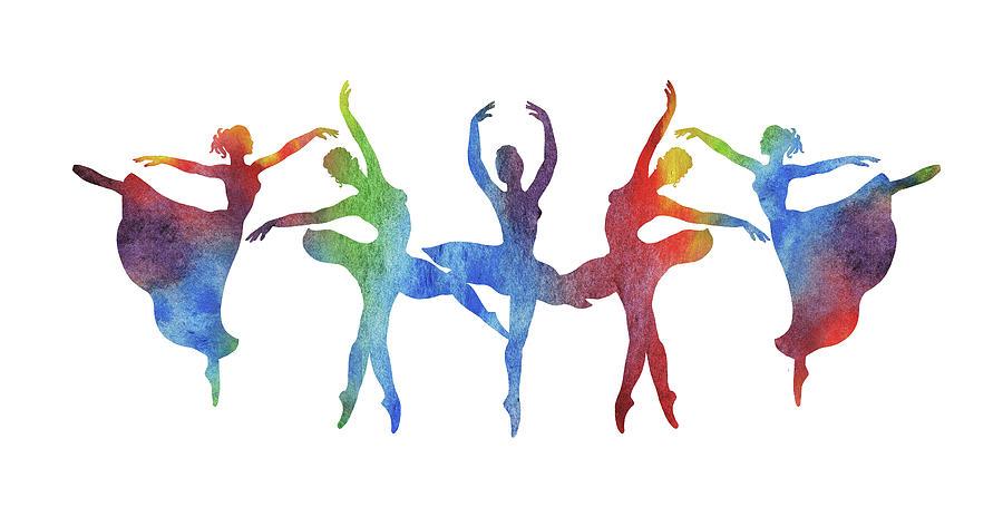 Rainbow Watercolor Ballerinas Silhouette Ballet Dance Painting By Irina Sztukowski