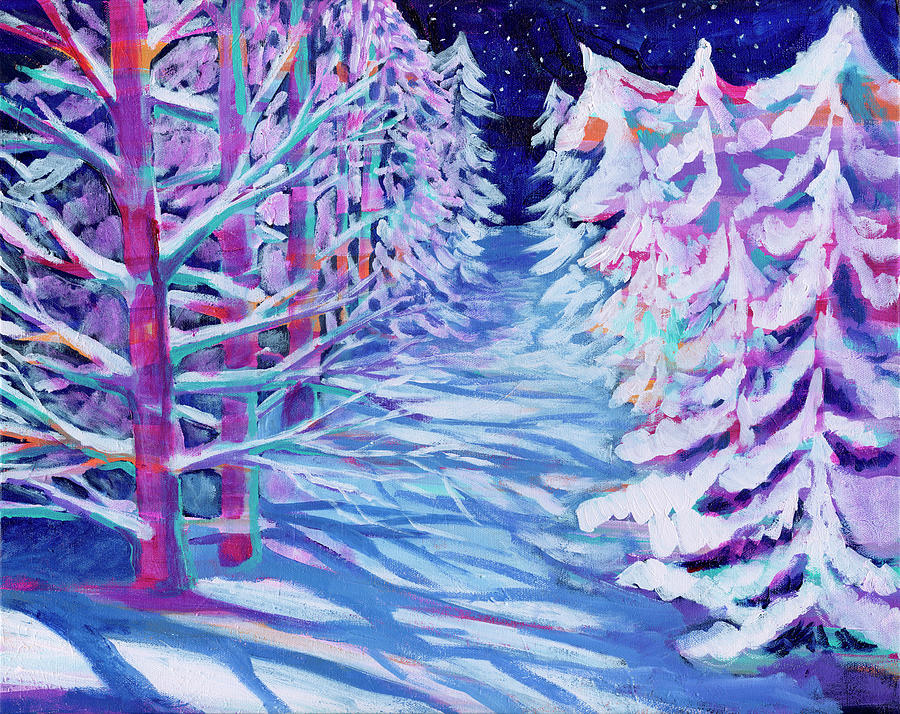 Rainbow Winter Trees Painting