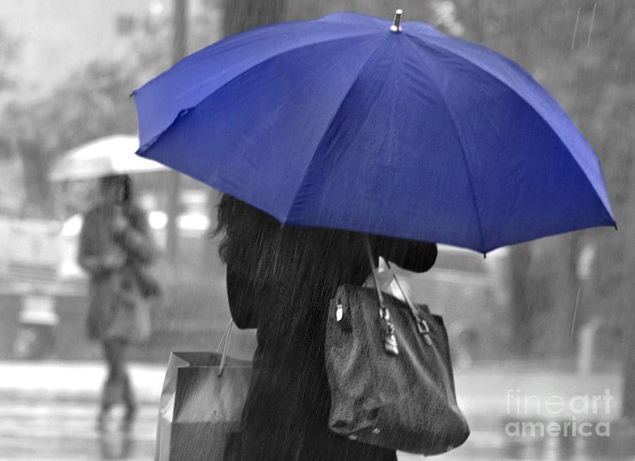 Rain Photograph - Rainy Blue by Dan Holm