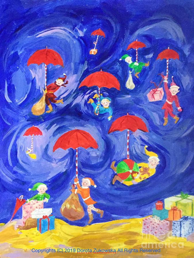 Rainy Christmas Painting
