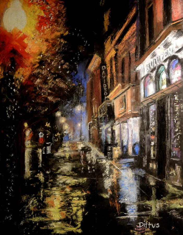 Downtown Painting - Rainy City Night by Chrissey Dittus