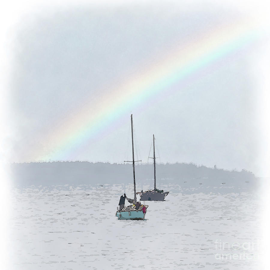 Sailboat Digital Art - Rainy Day On The Bay by Kirt Tisdale