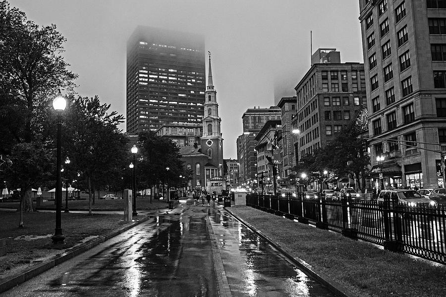 Rainy Day on the Boston Common Boston MA Tremont Street Park Street Church Black and White by Toby McGuire